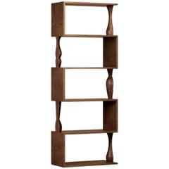 Perbacco, Zeitgenössisches Bücherregal aus Eschenholz mit Hand/gedrechselten Säulen