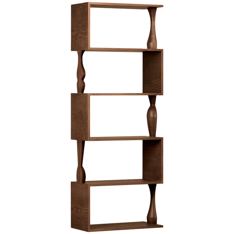 Perbacco, Contemporary Bookcase Made of Ash Wood with Hand Turned Columns For Sale