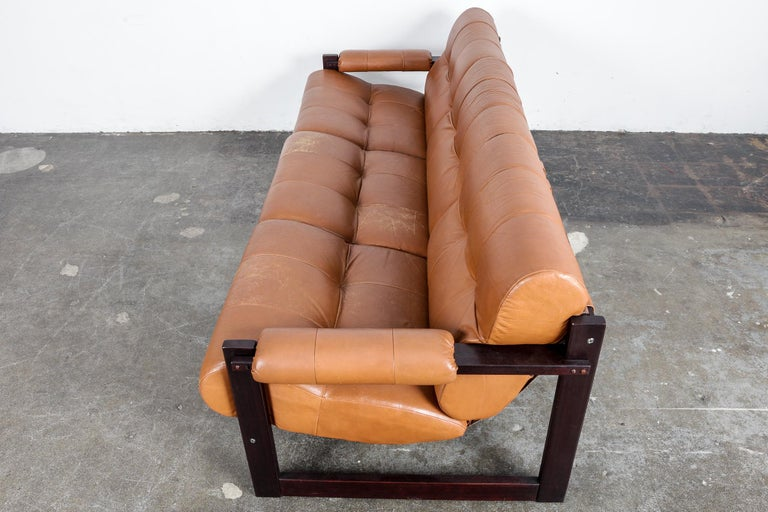 Percival Lafer 3-Seat MP-167 Sofa in Original Burnt Orange Leather, Brazil For Sale 4