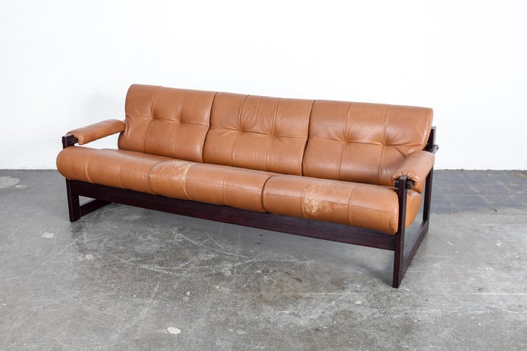 Mid-Century Modern Percival Lafer 3-Seat MP-167 Sofa in Original Burnt Orange Leather, Brazil For Sale