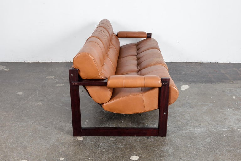 Percival Lafer 3-Seat MP-167 Sofa in Original Burnt Orange Leather, Brazil In Good Condition For Sale In North Hollywood, CA