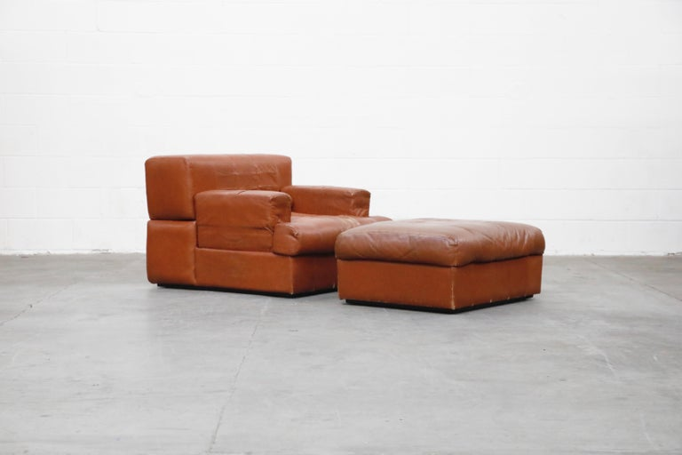 Mid-Century Modern Percival Lafer Adjustable Leather Armchair and Ottoman, Brazil, circa 1960 For Sale