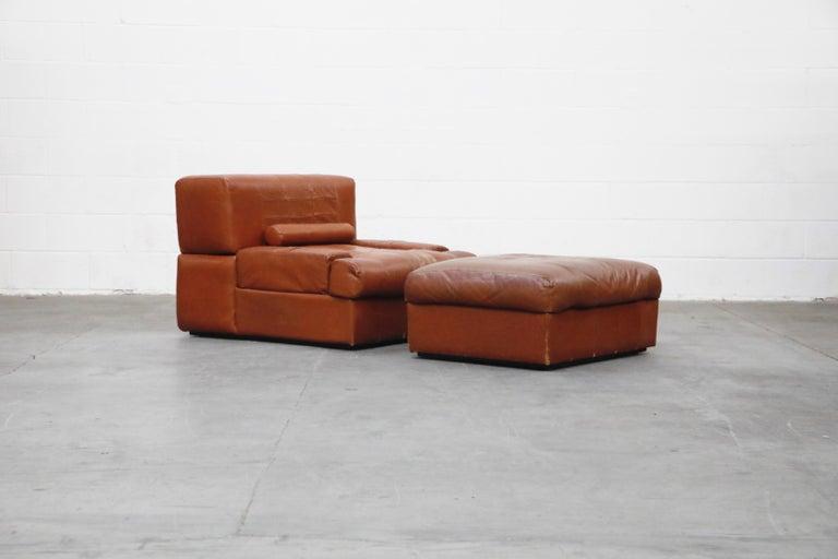 Brazilian Percival Lafer Adjustable Leather Armchair and Ottoman, Brazil, circa 1960 For Sale