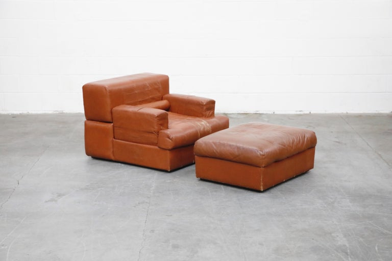 Percival Lafer Adjustable Leather Armchair and Ottoman, Brazil, circa 1960 In Good Condition For Sale In Los Angeles, CA