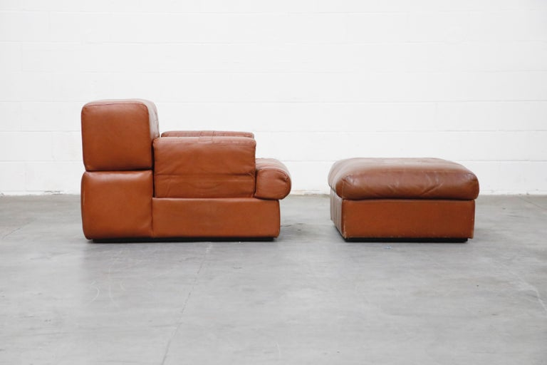 Mid-20th Century Percival Lafer Adjustable Leather Armchair and Ottoman, Brazil, circa 1960 For Sale