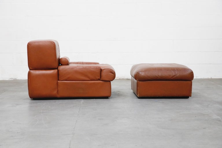 Percival Lafer Adjustable Leather Armchair and Ottoman, Brazil, circa 1960 For Sale 1