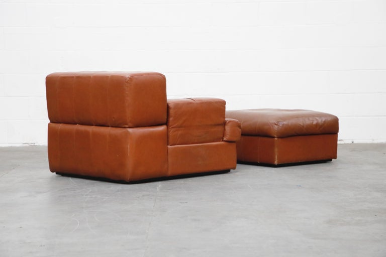 Percival Lafer Adjustable Leather Armchair and Ottoman, Brazil, circa 1960 For Sale 3