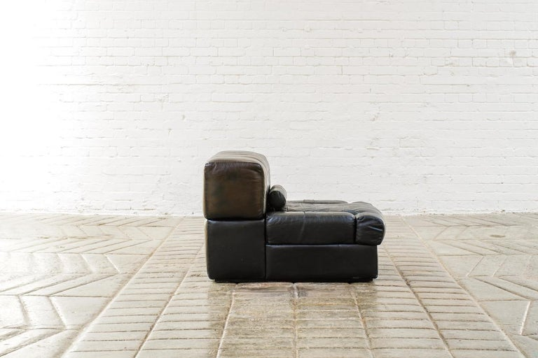 Percival Lafer Brazilian Black Leather Modular Sofa/Two Pair Chairs For Sale 5