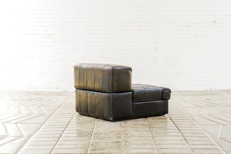 Percival Lafer Brazilian Black Leather Modular Sofa/Two Pair Chairs For Sale 6