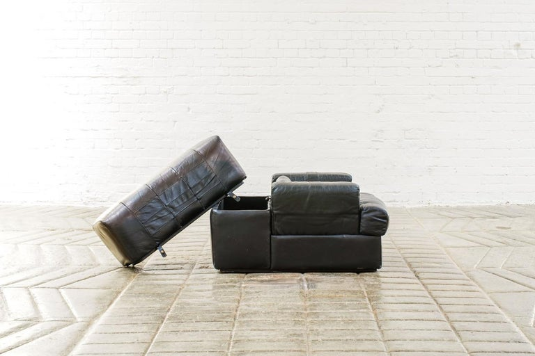 Percival Lafer Brazilian Black Leather Modular Sofa/Two Pair Chairs For Sale 8