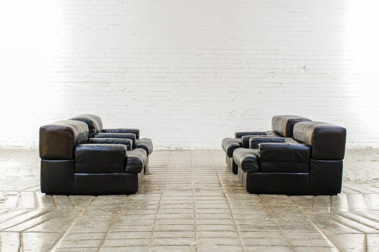 Percival Lafer Brazilian Black Leather Modular Sofa/Two Pair Chairs For Sale 10
