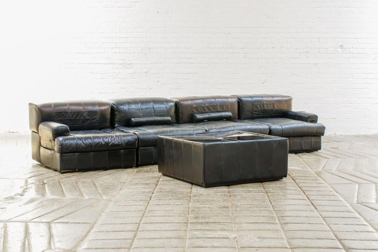 Mid-Century Modern Percival Lafer Brazilian Black Leather Modular Sofa/Two Pair Chairs For Sale