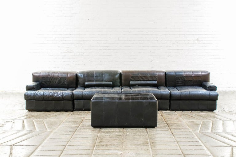 Percival Lafer Brazilian Black Leather Modular Sofa/Two Pair Chairs In Fair Condition For Sale In Somerton, GB