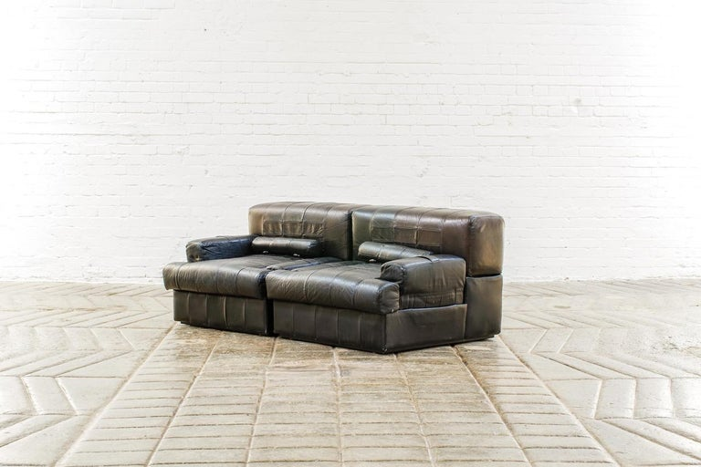 20th Century Percival Lafer Brazilian Black Leather Modular Sofa/Two Pair Chairs For Sale