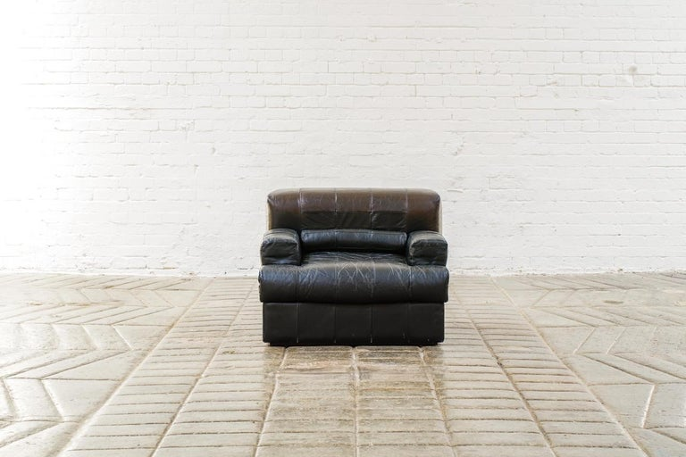 Percival Lafer Brazilian Black Leather Modular Sofa/Two Pair Chairs For Sale 1