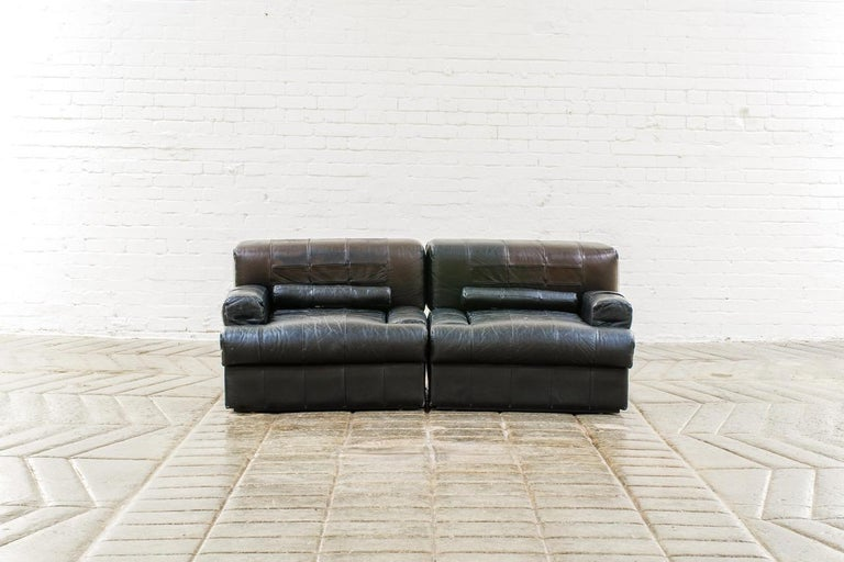 Percival Lafer Brazilian Black Leather Modular Sofa/Two Pair Chairs For Sale 2