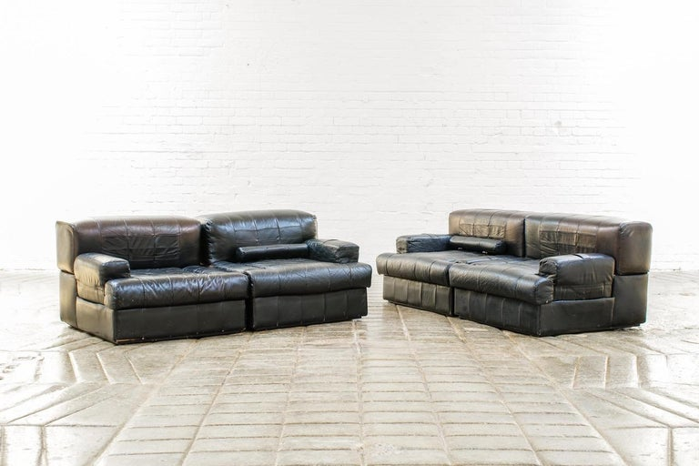 Percival Lafer Brazilian Black Leather Modular Sofa/Two Pair Chairs For Sale 3