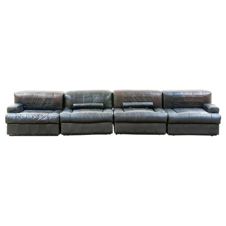Percival Lafer Brazilian Black Leather Modular Sofa/Two Pair Chairs For Sale