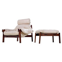 Percival Lafer Brazilian Blush Ivory Leather Rosewood Lounge Chair and Ottoman
