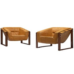 Percival Lafer Brazilian Lounge chairs in Ochre Yellow Leather