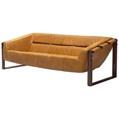 Percival Lafer Brazilian Sofa in Ochre Yellow Leather