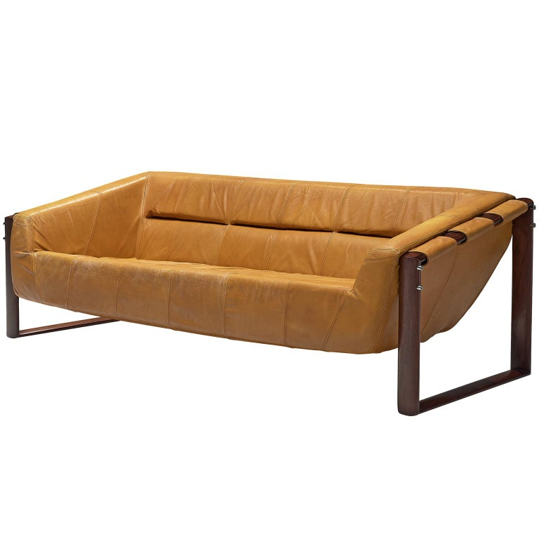 Yellow Leather Sectional Sofa: Percival Lafer Brazilian Sofa In Ochre Yellow Leather For