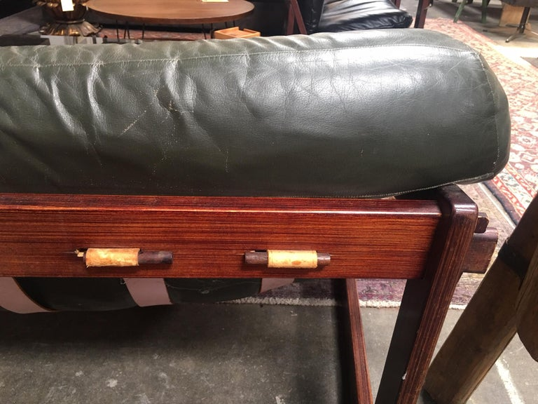 Percival Lafer Brazilian Sofa with Dark Green Leather In Good Condition For Sale In Los Angeles, CA