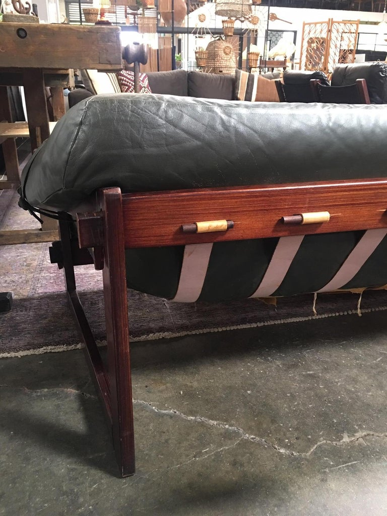 Mid-20th Century Percival Lafer Brazilian Sofa with Dark Green Leather For Sale