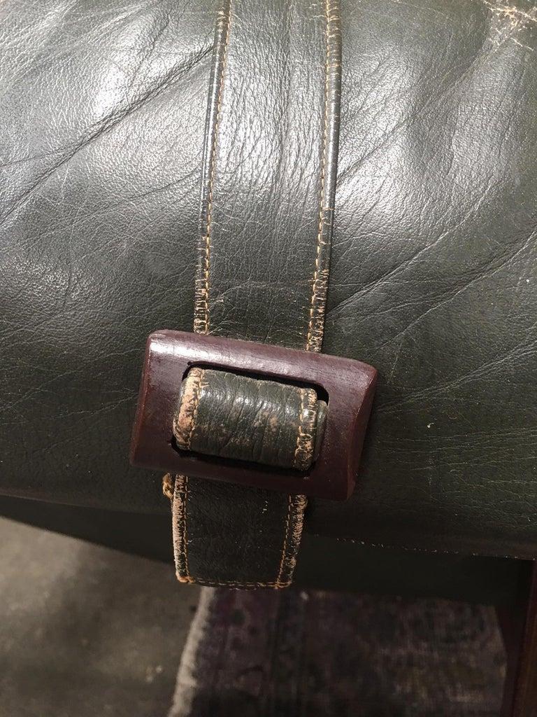 Percival Lafer Brazilian Sofa with Dark Green Leather For Sale 3