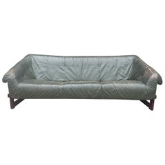 Percival Lafer Brazilian Sofa with Dark Green Leather