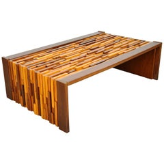 Percival Lafer Rosewood, Teak and Mahogany Brutalist Coffee Table