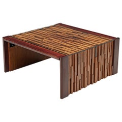Percival Lafer Coffee Table with a Mosaic of Brazilian Hardwoods