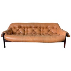 Percival Lafer Cognac Leather and Brazilian Rosewood Sofa MP-41 Series