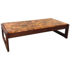 Percival Lafer Copper Patchwork and Jacaranda Coffee Table