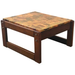 Percival Lafer Copper Patchwork and Jacaranda Side Table