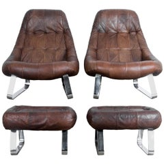 Percival Lafer Dark Brown Chrome Leather Earth Chair with Ottoman, a Pair