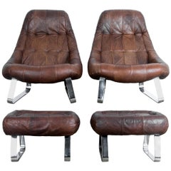 "Percival Lafer Dark Brown Chrome Leather ""Earth"" Chair with Ottoman"