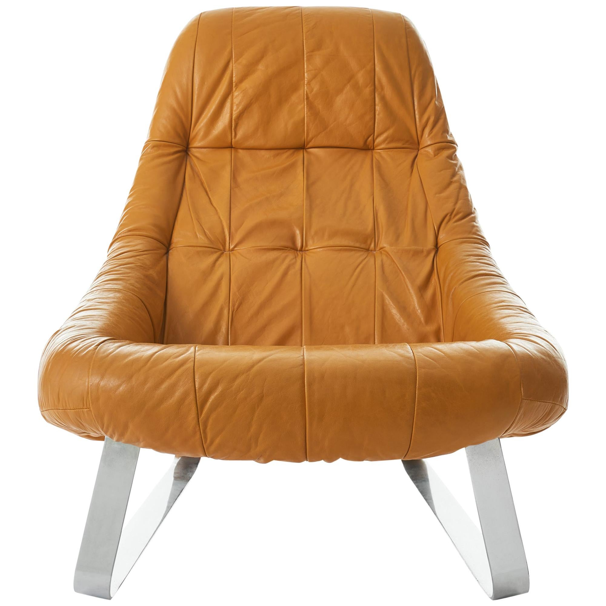 Percival Lafer 'Earth' Chrome and Leather Lounge Chair