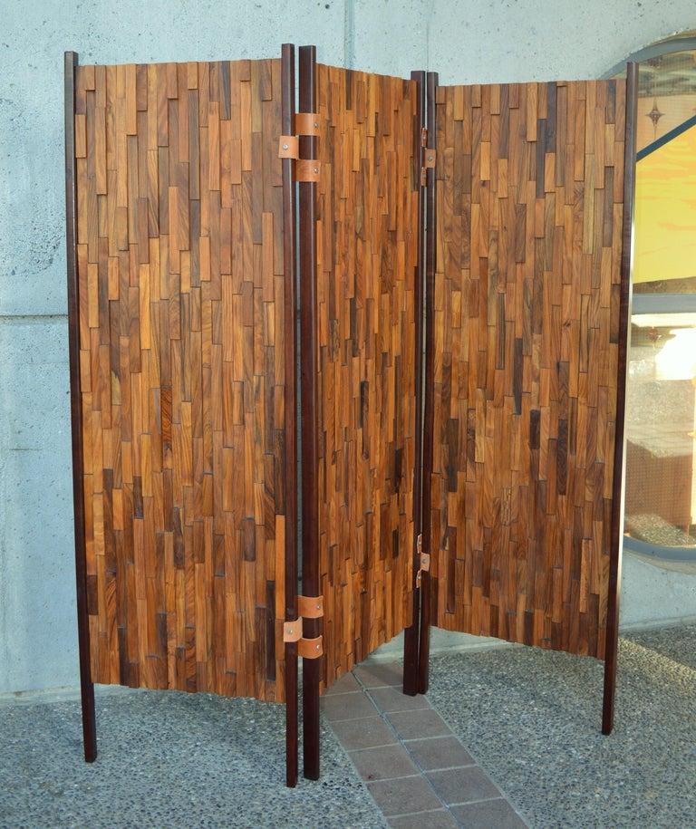 Terrific Percival Lafer Exotic Hardwood Mosaic 3 Panel Screen Room Interior Design Ideas Tzicisoteloinfo