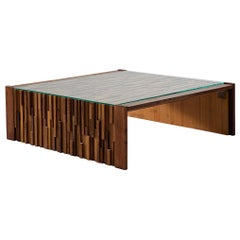 Percival Lafer Large Coffee Table with a Mosaic of Brazilian Hardwoods