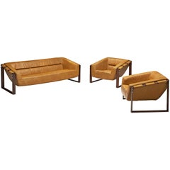 Percival Lafer Living Room Set in Ochre Yellow Leather