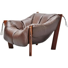 Percival Lafer Lounge Chair in Mahogany Leather, Brazil, 1960
