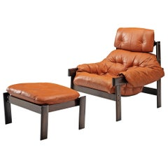 Percival Lafer Lounge Chair with Ottoman Brazilian Hardwood