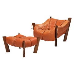 Percival Lafer Lounge Chair with Ottoman in Leather