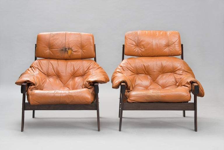 Mid-Century Modern Percival Lafer mid-century modern rosewood lounge Chairs for Lafer, Brazil 1960s For Sale