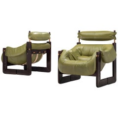 Percival Lafer Lounge Chairs in Green Leather and Rosewood