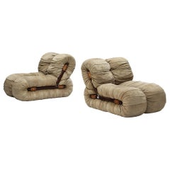 Percival Lafer Lounge Chairs in Nubuck Leather