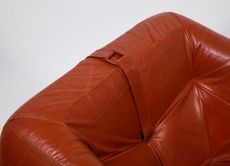 Percival Lafer Loungers Model MP-091, Cherry and Caramel Leather, Brazil, 1960s For Sale 4