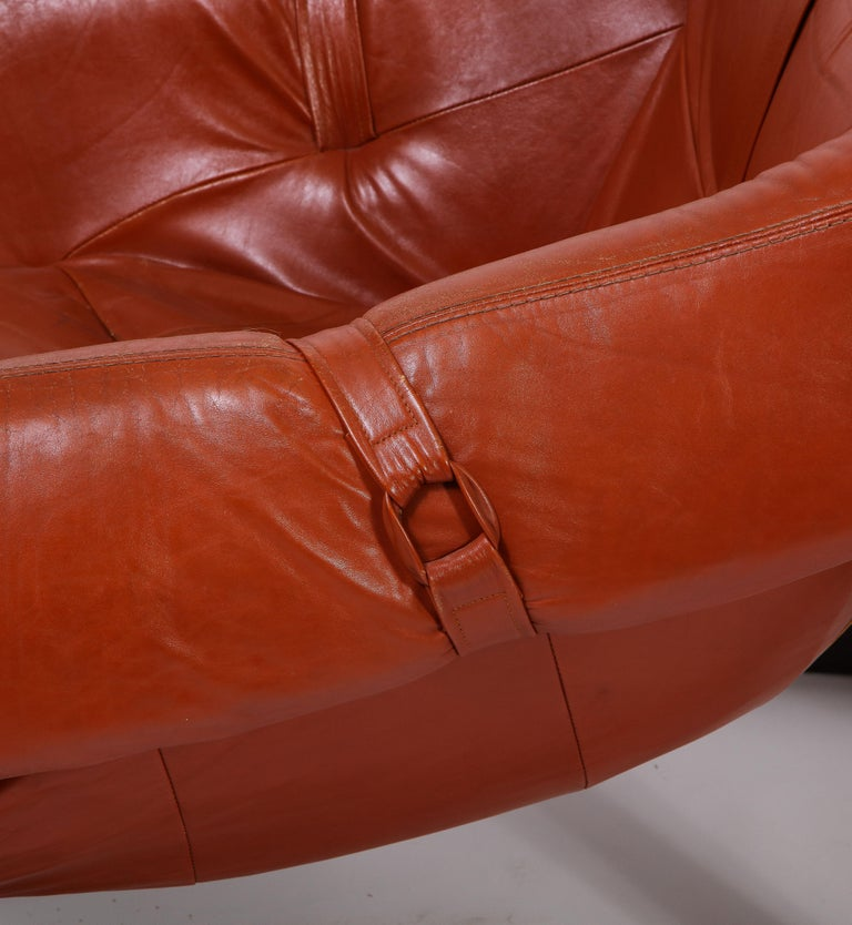 Percival Lafer Loungers Model MP-091, Cherry and Caramel Leather, Brazil, 1960s For Sale 5