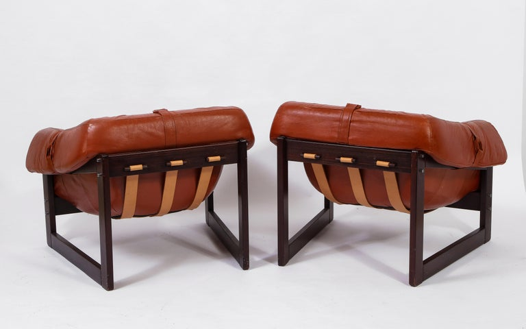 Mid-Century Modern Percival Lafer Loungers Model MP-091, Cherry and Caramel Leather, Brazil, 1960s For Sale
